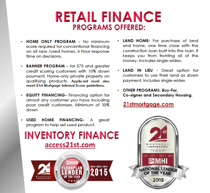 21st Mortgage Retail Financing through American West Homes LLC