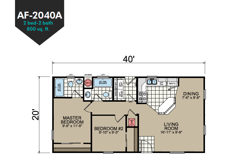 AF-2040A Floor Plan - Redman Homes American Freedom Series