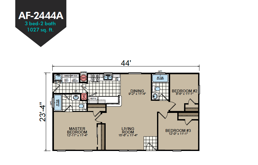 AF-2444A Floor Plan - Redman Homes American Freedom Series