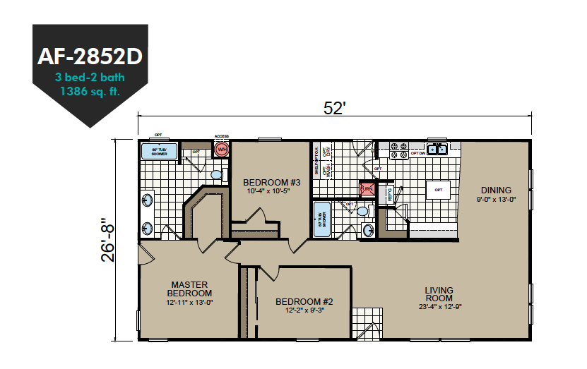 AF-2852D Floor Plan - Redman Homes American Freedom Series