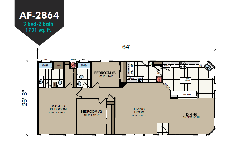 AF-2864 Floor Plan - Redman Homes American Freedom Series