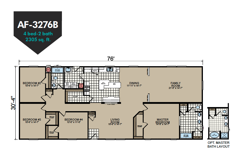 AF-3276B Floor Plan - Redman Homes American Freedom Series