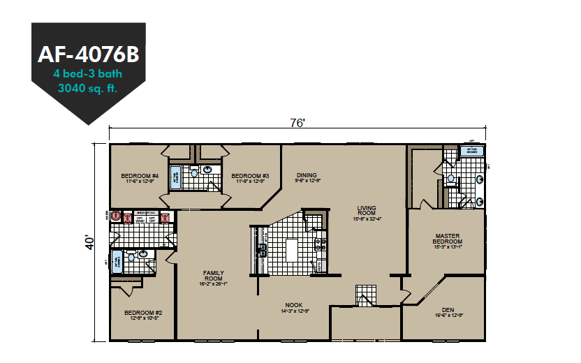 AF-4076B Floor Plan - Redman Homes American Freedom Series