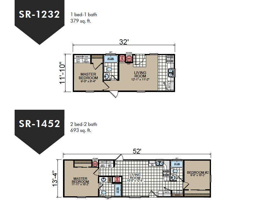 SR-1232 | SR-1452 Redman Homes Floor Plans