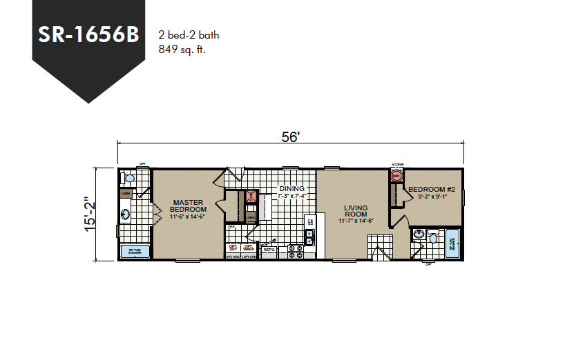 SR-1656B Redman Homes Sunrise Series Floor Plan