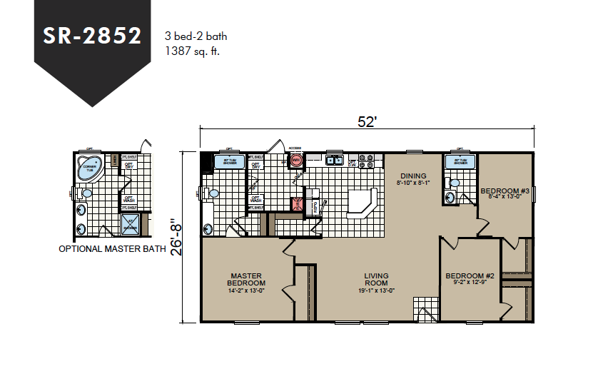 SR-2852 Redman Homes Sunrise Series Floor Plan