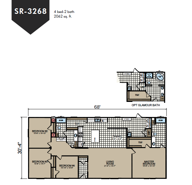 SR-3268 Redman Homes Sunrise Series Floor Plan